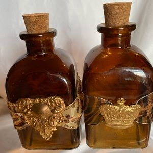 Other - BROWN GLASS BOTTLES WITH RIBBON AND CORK.